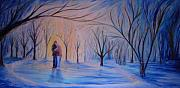 Snowy Trees Paintings - Ice and Embers by Daniel W Green