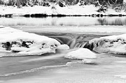 Flowing Water Prints - Ice And Snow On River Print by Fototstation Schoenau Juergen Olbricht