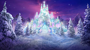 Winter Night Mixed Media Posters - Ice Castle Poster by Philip Straub
