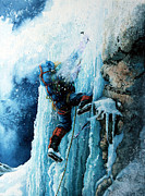 Winter Sports Painting Prints - Ice Climb Print by Hanne Lore Koehler