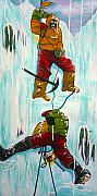 Ice Climbing Paintings - Ice Climbers by V Boge