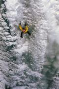 Ice Metal Prints - Ice Climbing In The South Fork Valley Metal Print by Bobby Model
