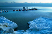 Ice-covered Prints - Ice Covered Pier Pilings Print by Jill Battaglia