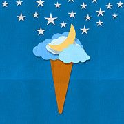 Ice Cream Illustration Posters - Ice Cream Design On Hand Made Paper Poster by Setsiri Silapasuwanchai