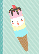 Ice Cream Illustration Framed Prints - Ice Cream Framed Print by Littlebirth