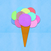 Ice Cream Illustration Posters - Ice Cream On Hand Made Paper Poster by Setsiri Silapasuwanchai