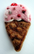 Summer Tapestries - Textiles - Ice Cream Ornament by Kimberly Simon