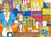 Shops Drawings Prints - Ice Cream Shop Print by Sarah Hamilton