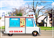 Ice Cream Illustration Posters - Ice Cream Truck in the Street Poster by Elaine Plesser