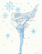 Snowflakes Drawings Posters - Ice Fairie Poster by Elaine Read-Cole