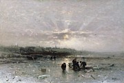 Snowfall Paintings - Ice Fishing by Ludwig Munthe