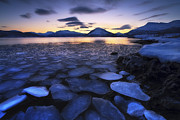 Seascape. Winter Prints - Ice Flakes Drifting Against The Sunset Print by Arild Heitmann