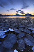 Sunset In Norway Photo Prints - Ice Flakes Drifting Towards Print by Arild Heitmann