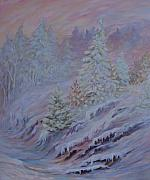 Sunset; Ice Prints - Ice Fog in the Forest Print by Joanne Smoley