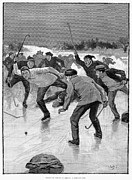 Ice Skating Framed Prints - Ice Hockey, 1898 Framed Print by Granger