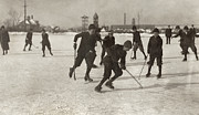Ice Skating Prints - Ice Hockey 1912 Print by Granger