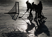 Kids Playing Hockey Photos - Ice Hockey by Edward Betz