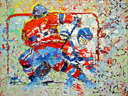 Hockey Painting Framed Prints - ICE HOCKEY No1 Framed Print by Walter Fahmy