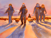 Fishermen Paintings - Ice Men Come Home by Kathy Braud