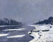 White River Scene Framed Prints - Ice on the Seine at Bougival Framed Print by Claude Monet