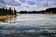 Yellowstone Digital Art Posters - Ice on the Yellowstone River Poster by Ellen Lacey
