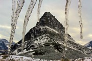 Many Glacier Photos - Ice Over Grinnell Point by Adam Jewell