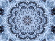 Snowflake Mixed Media Posters - Ice Patterns Snowflake Poster by Kristin Elmquist