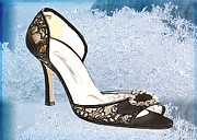 Stilettos Paintings - Ice Princess Lace Pumps by Elaine Plesser