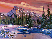 Rundle Posters - Ice River Sunrise Poster by David Lloyd Glover