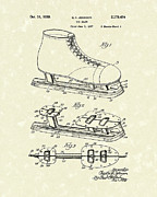 Skating Drawings - Ice Skate 1939 Patent Art by Prior Art Design