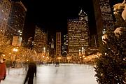 Sven Brogren Posters - Ice Skaters and Chicago Skyline Poster by Sven Brogren