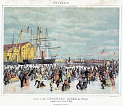 Crowd Scene Paintings - ICE SKATERS, c1856 by Granger