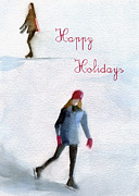 Skating Paintings - Ice Skaters Holiday Card by Beverly Brown Prints