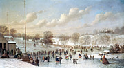 Skating Painting Prints - Ice Skating, 1865 Print by Granger