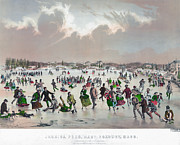Sled Dog Framed Prints - ICE SKATING, c1859 Framed Print by Granger