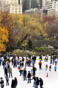 Ice Skating Photos - Ice Skating in Central Park by Vicki Jauron