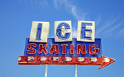 Vintage Signs Art - Ice Skating by Matthew Bamberg