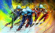 Sports Art Mixed Media Posters - Ice Speed Skating 01 Poster by Miki De Goodaboom