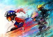 Usa Skate Team Prints - Ice Speed Skating 02 Print by Miki De Goodaboom