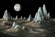 Jovian Prints - Ice Spires On Callisto, Artwork Print by Richard Bizleycallisto Engineering Expertise For Space Communications