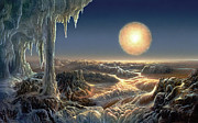 Space Art Metal Prints - Ice World Metal Print by Don Dixon