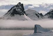 Ice Fog Framed Prints - Iceberg, Fog And Mountains Dominate Framed Print by Gordon Wiltsie