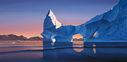 Icebergs Posters - Icebergs at sunset Poster by Cliff Wassmann