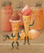 Food Drawings Prints - Icecream in the Fridge Print by Kestutis Kasparavicius