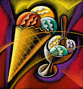 Ice Cream Illustration Framed Prints - Icecream Framed Print by Leon Zernitsky