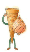 Food Drawings Posters - Icecream02 Poster by Kestutis Kasparavicius