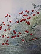 Patsy Sharpe Painting Framed Prints - Iced Holly Framed Print by Patsy Sharpe