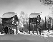 Hunting Cabin Photo Framed Prints - Iced Huts Framed Print by Three Lions