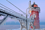 Glazed Prints - Iced South Haven Lighthouse Print by Dean Pennala