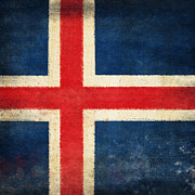 Antique Map Photos - Iceland flag by Setsiri Silapasuwanchai